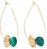 Dinosaur Designs Small Mineral Gold-tone Resin Hoop Earrings - Green