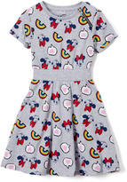 Freeze Minnie Mouse Light Gray Heather Rainbow A-Line Dress - Girls