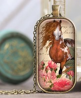 Designs By Karamarie Designs by KaraMarie Women's Necklaces bronze - Pink & Bronzetone Horse Pendant Necklace