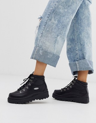 Skechers Shindig 6eye hiker boot in black leather