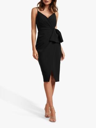 Forever New Alexis Bow Detail Wrap Neck Dress, Black
