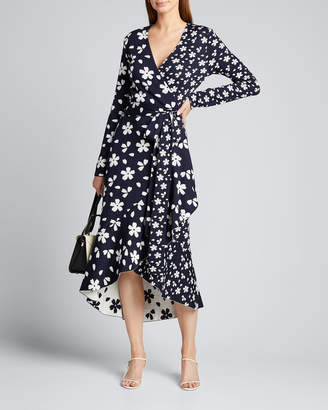 Oscar de la Renta Daisy Patterned Long-Sleeve High-Low Wrap Dress