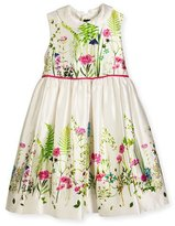 Oscar de la Renta Sleeveless Collared Botanical Flora Mikado Dress, Multicolor, Size 4-8