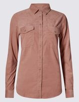 Marks and Spencer Pure Cotton Textured Long Sleeve Shirt