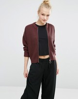 Monki Knitted Rib Bomber