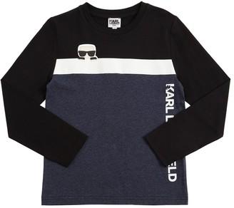 Karl Lagerfeld Paris Logo Print Cotton Jersey T-Shirt