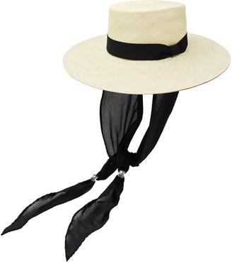 Sensi Cordovez Cotton Voile-Trimmed Straw Hat