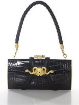 Rachel Zoe Design For Judith Leiber Brown Crocodile Single Strap Medusa Handbag
