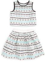 Girl's Pippa & Julie Meet & Greet Print Crop Top & Skirt
