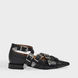 Toga Pulla Buckle Flats In Black Leather