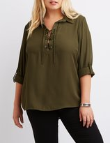 Charlotte Russe Plus Size Lace-Up Collared Shirt