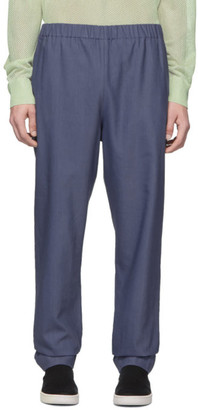 Tibi SSENSE Exclusive Blue Linen Viscose Trousers