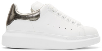 Alexander McQueen White and Gunmetal Metallic Oversized Sneakers