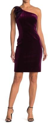 Eliza J Bow One Shoulder Velvet Sheath Dress