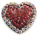 Avalaya Bronze Tone Dazzling Diamante Heart Brooch