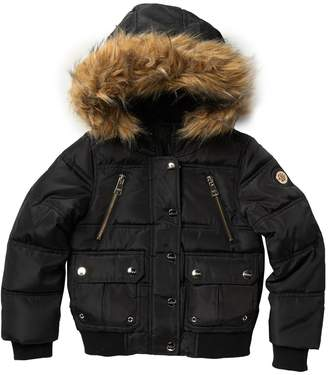 DKNY Rib Bottom Faux Fur Trimmed Jacket (Little Girls)