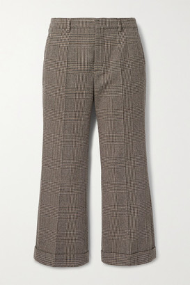 Saint Laurent Cropped Prince Of Wales Checked Wool-blend Straight-leg Pants - Brown