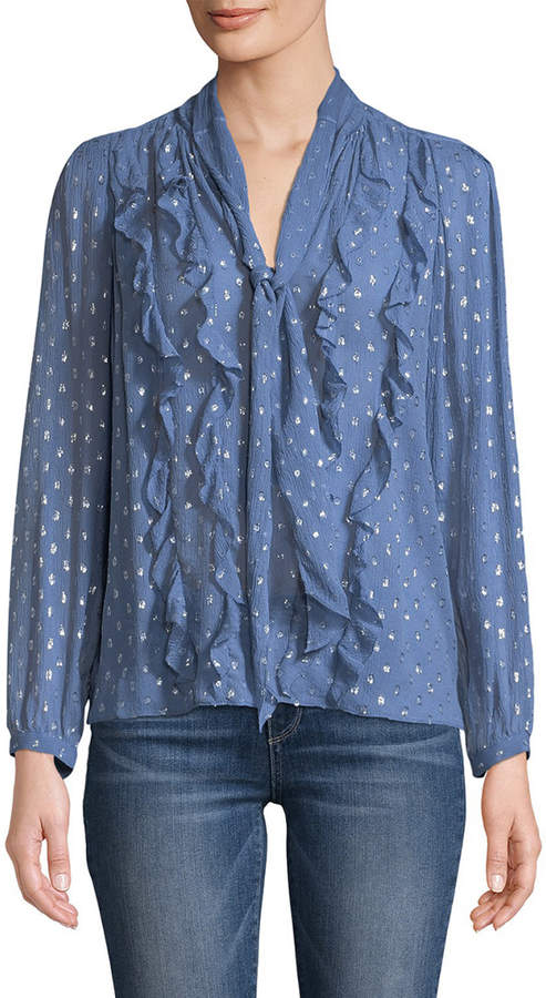 Rebecca Taylor Embellished Ruffle Top
