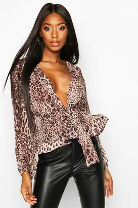 boohoo Leopard Crinkle Fabric Tie Front Blouse