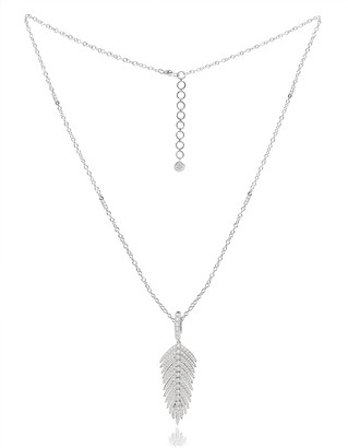 Sutra 18K White Gold & Diamond Hinged Feather Pendant Necklace