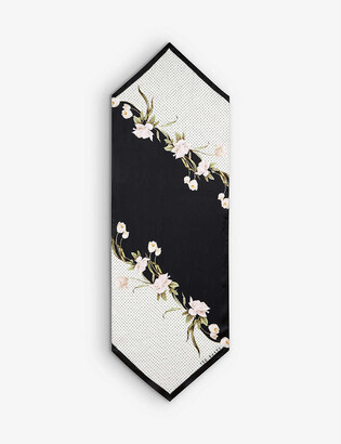 Ted Baker Elderflower floral-print woven scarf