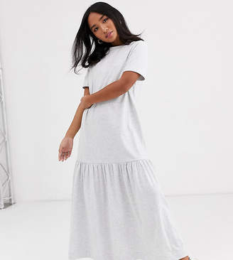 Asos DESIGN Petite t shirt maxi dress with dropped hem-Grey