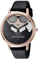 Karl Lagerfeld Women's 'Camille' Quartz Stainless Steel and Leather Casual Watch, Color:Black (Model: KL2227)