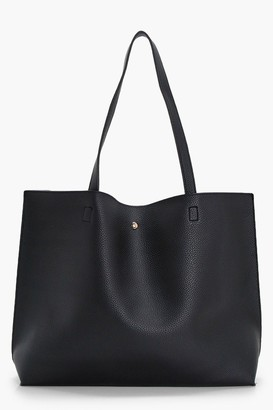 boohoo Large Popper Tote Shopper Bag