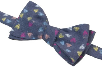40 Colori Navy Birch Printed Linen Butterfly Bow Tie