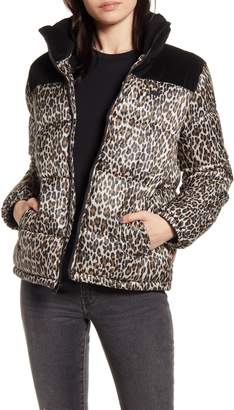 Levi's Mixed Media Leopard Print Puffer Jacket