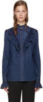 Stella McCartney Blue Denim Ruffled Shirt