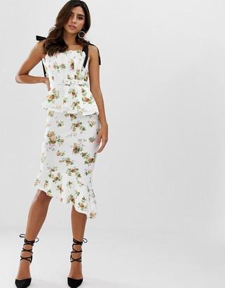 Asos Design DESIGN pleated bodice floral midi pencil dress with belt-Multi