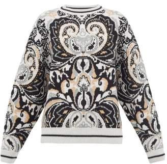 See by Chloe Paisley Jacquard Wool Blend Sweater - Womens - Grey Multi