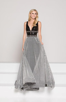 Colors Dress - 1876 Plunging Ornate Banded Stripe Gown