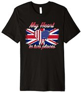 UK British USA Flag Union Jack My Heart In Two Places Tshirt