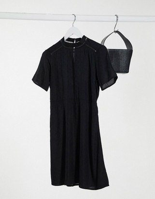 Vero Moda high neck skater dress in black