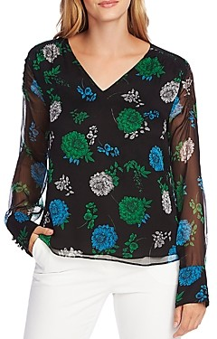 Vince Camuto Smocked Detail Floral V-Neck Top