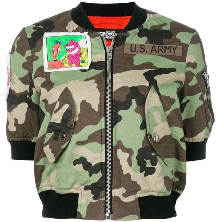 Jeremy Scott camouflage cropped bomber jacket