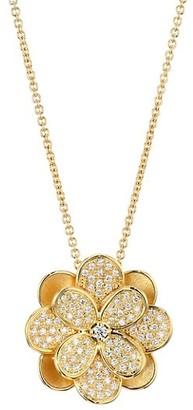 Marco Bicego Petali 18K Yellow Gold & Diamond Pave Medium Flower Pendant Necklace