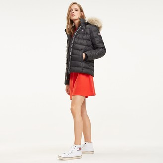 Tommy Jeans Short Hooded Padded Jacket in Recycled Fabric with Faux Fur Collar