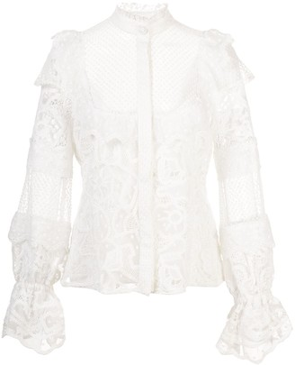 Alexis Dafnie crochet ruffled blouse