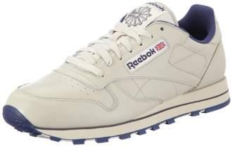 Reebok Classic Leather, Men's Low-Top Sneakers, Beige (Ecru/Navy)
