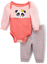 Buster Brown Calypso Coral & Light Gray Panda Bodysuit & Joggers - Infant