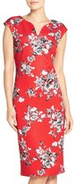 ECI Women's Floral Print Scuba Sheath Dress