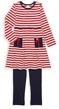 Florence Eiseman Little Girl's Two-Piece Stripe Present Pocket Dress & Leggings Set