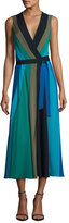 Diane von Furstenberg Penelope Colorblock Wrap Silk Jersey Maxi Dress
