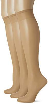Pretty Polly Women's Curves Sheer Cooling Knee Highs 2PP Tights, 15 DEN,(Size:WIDE FIT) (pack of 3)