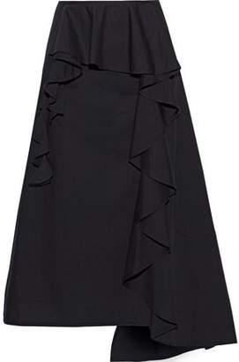 Acne Studios Hamina Asymmetric Ruffled Cotton-poplin Midi Skirt