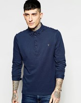 Farah Merriweather Long Sleeve Slim Fit Polo Shirt In Navy