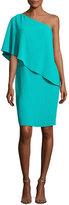 Carmen Marc Valvo One-Shoulder Asymmetric Popover Cocktail Dress, Jade